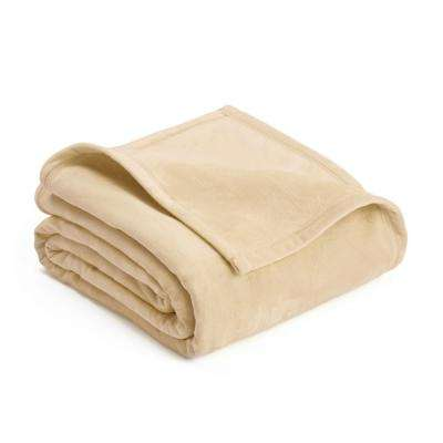 Plush Cream Polyester King Blanket