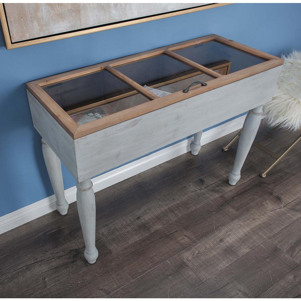 Box Console Table ~ Box shaped glass and wooden console table the home