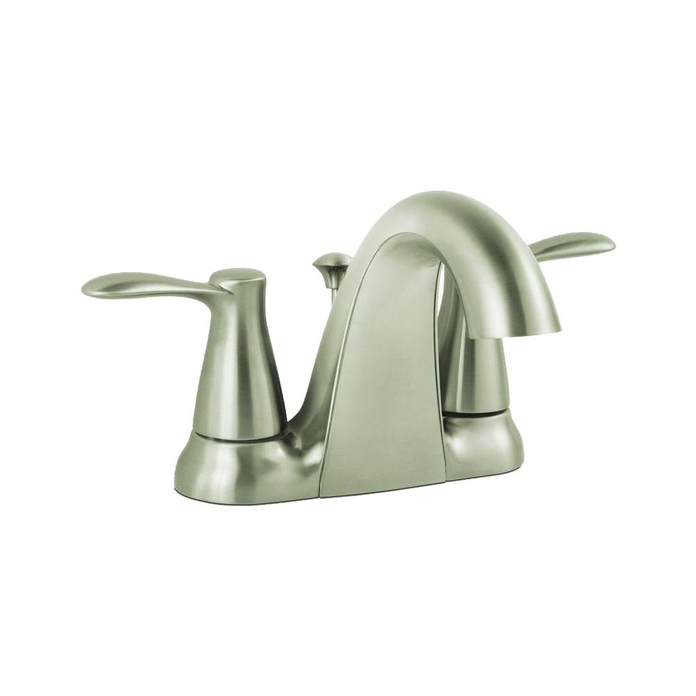 Glacier Bay Gable 4 in. Centerset 2-Handle Mid-Arc Bathroom Faucet in Brushed Nickel