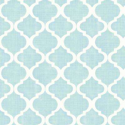 Tabitha Aqua Watercolor Quatrefoil Wallpaper