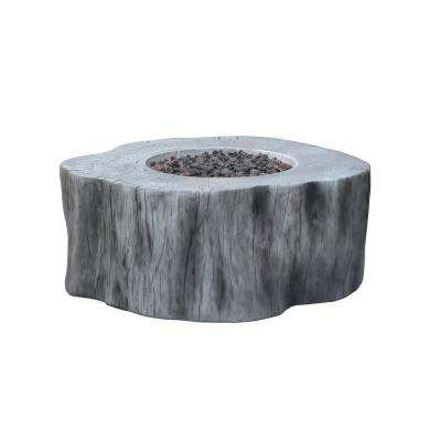 Manchester 42 in. x 39 in. x 17 in. Irregular Round Concrete Natural Gas Fire Pit Table in Classic Gray