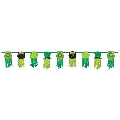 9.5 in. x 8 ft. St. Patrick's Day Paper Tassel Garland (2-Pack)