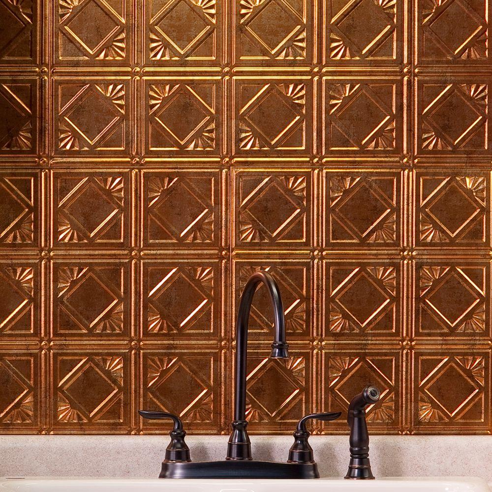 Fasade 24 in. x 18 in. Traditional 4 PVC Decorative Backsplash Panel in Muted Gold