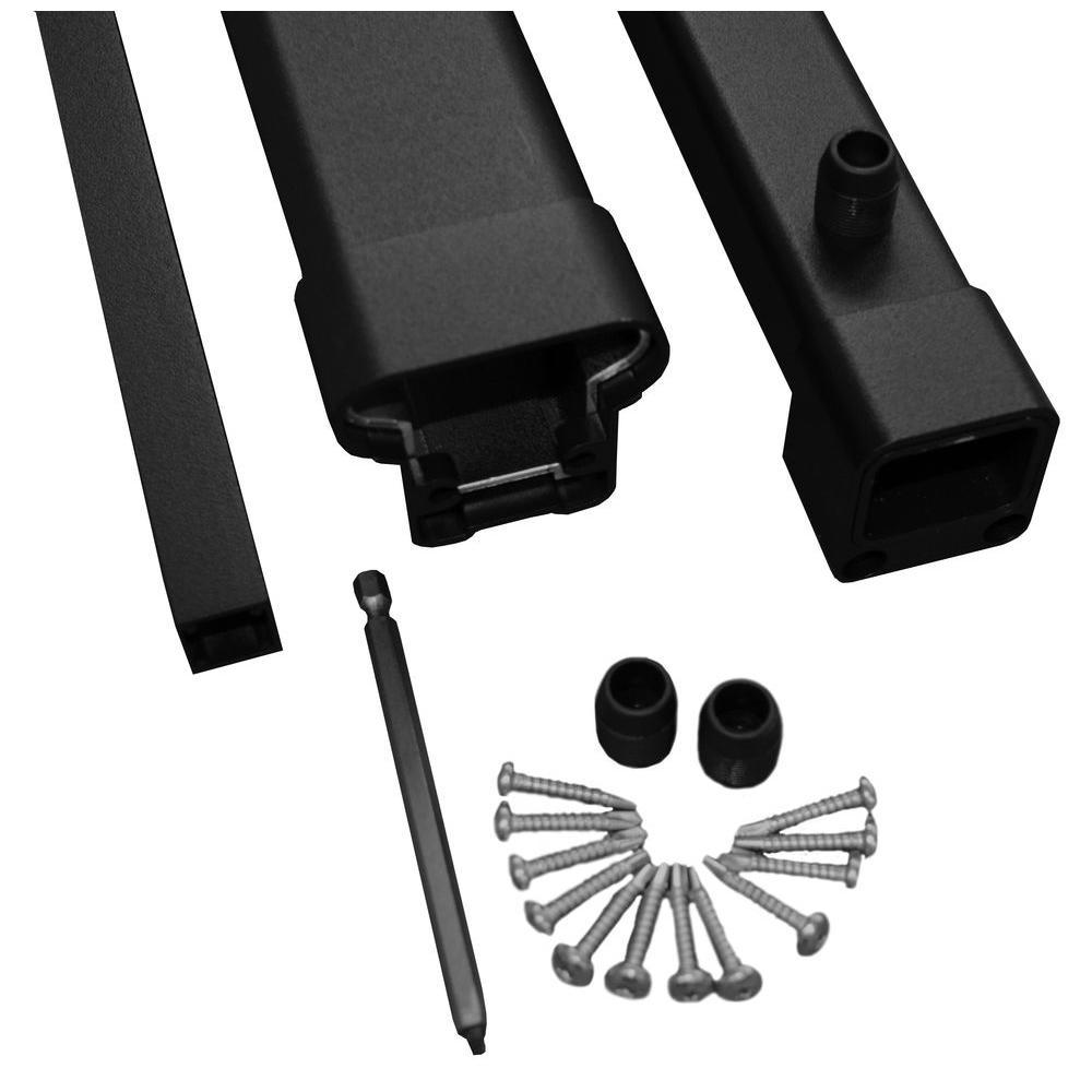 Pro 8 ft. Black Aluminum Fixed Angle Stair Hand Rail and Bottom Rail Kit