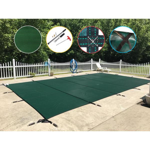 16 ft. x 38 ft. Rectangle Green Mesh In-Ground Safety Pool Cover