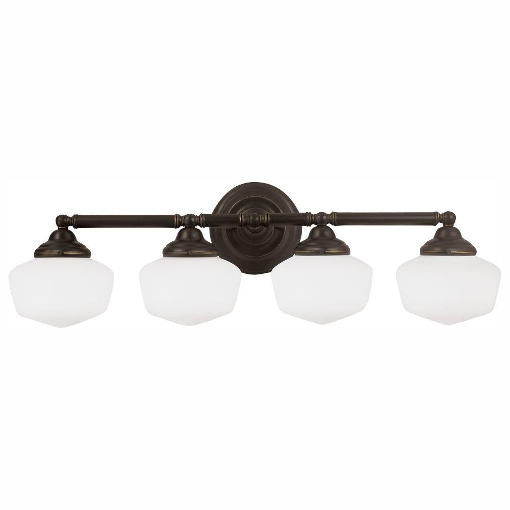 Academy 4-Light Heirloom Bronze Wall/Bath Light with LED Bulbs