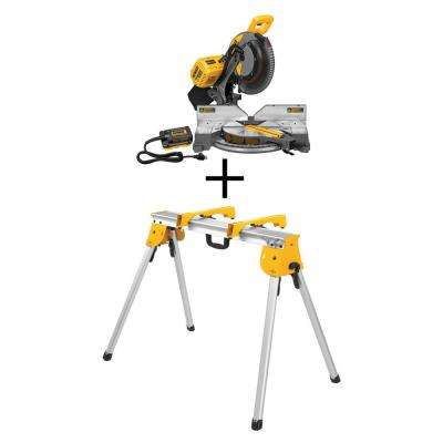 FLEXVOLT 120-Volt MAX Lithium-Ion Cordless Brushless 12 in. Compound Miter Saw w/ AC Adapter (Tool-Only) w/ Bonus Stand