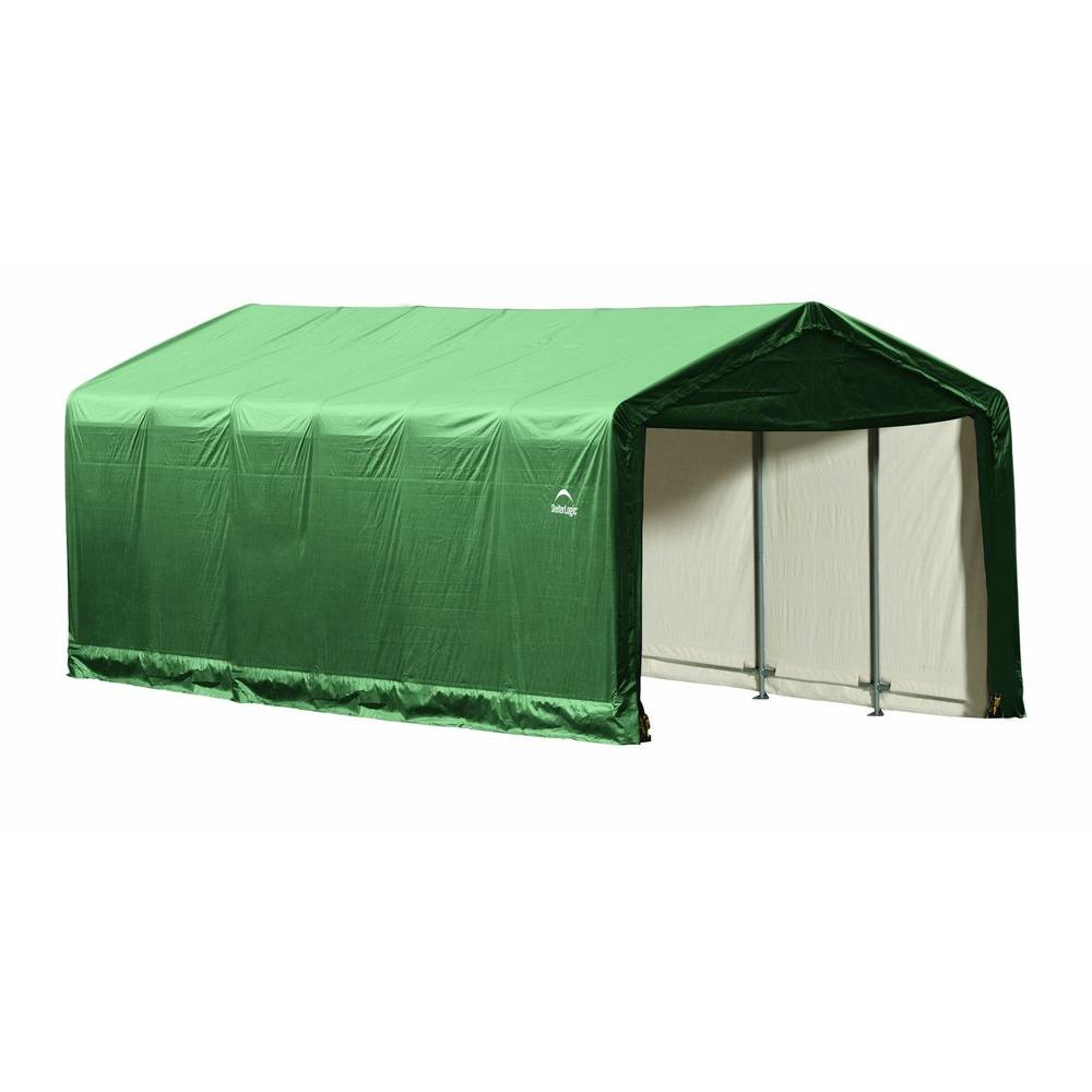 ShelterLogic ShelterTube 12 ft. x 30 ft. x 11 ft. Green Steel and Polyethylene Garage without Floor