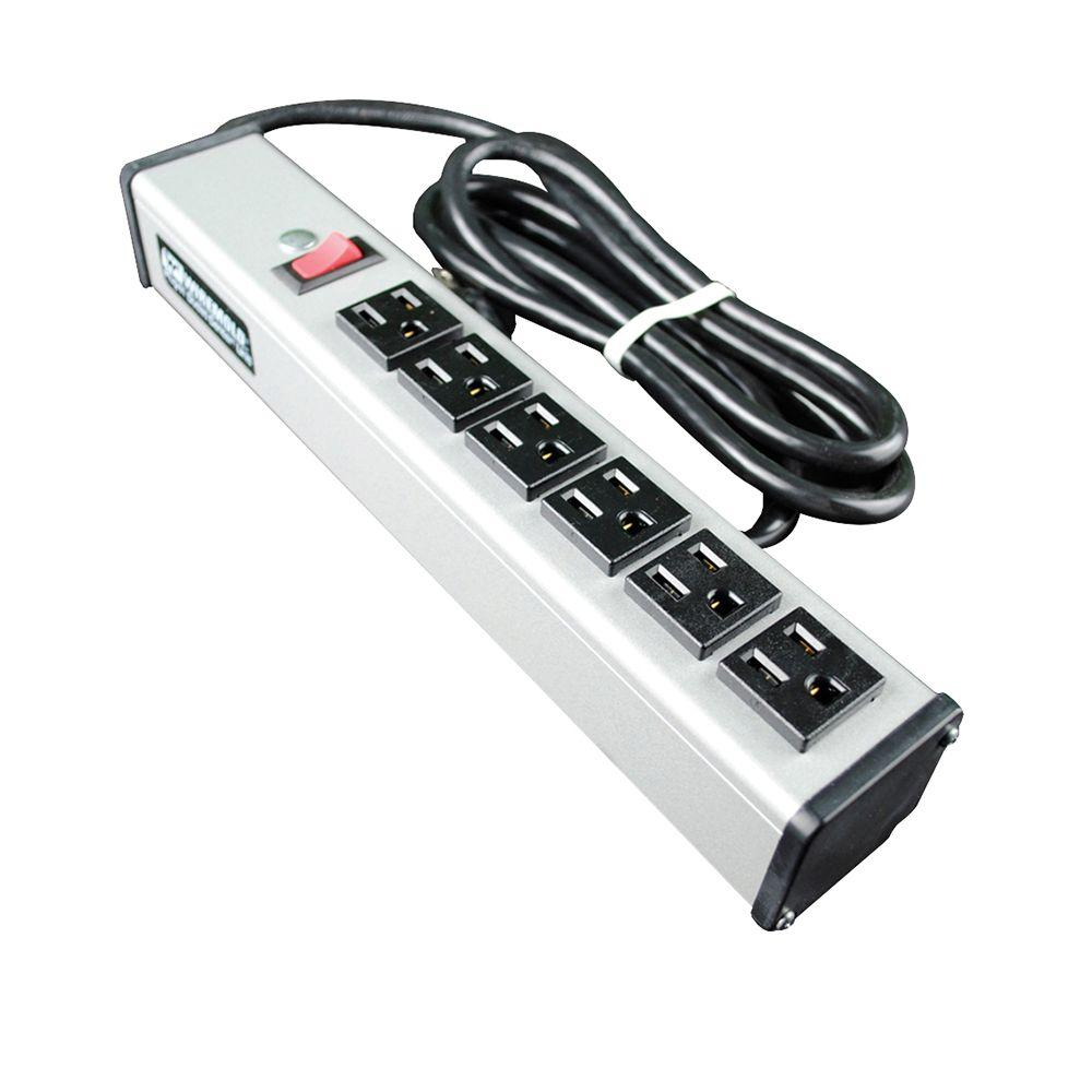 6-Outlet 15-Amp Compact Power Strip with Lighted On/Off Switch, 6 ft.