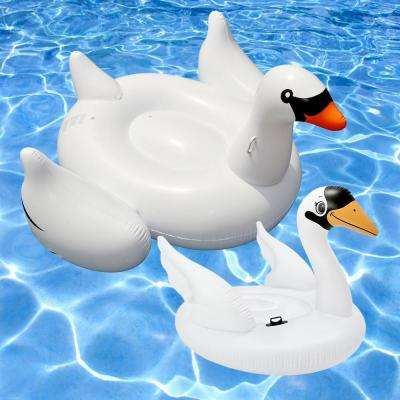 Giant White Swan and Ride-On Swan Swimming Pool Float Combo (2-Pack)