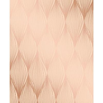Gleam Bronze Linear Ogee Wallpaper Sample
