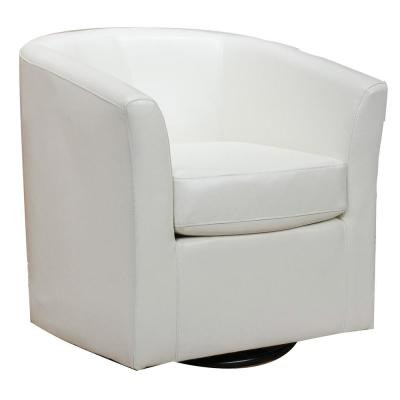Nylah Ivory PU Swivel Club Chair