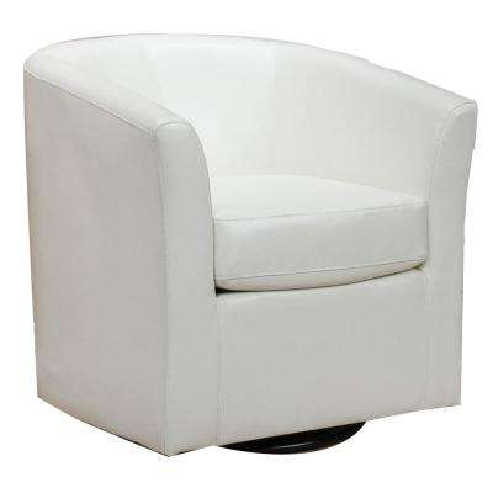 Nylah Ivory PU Swivel Club Chair