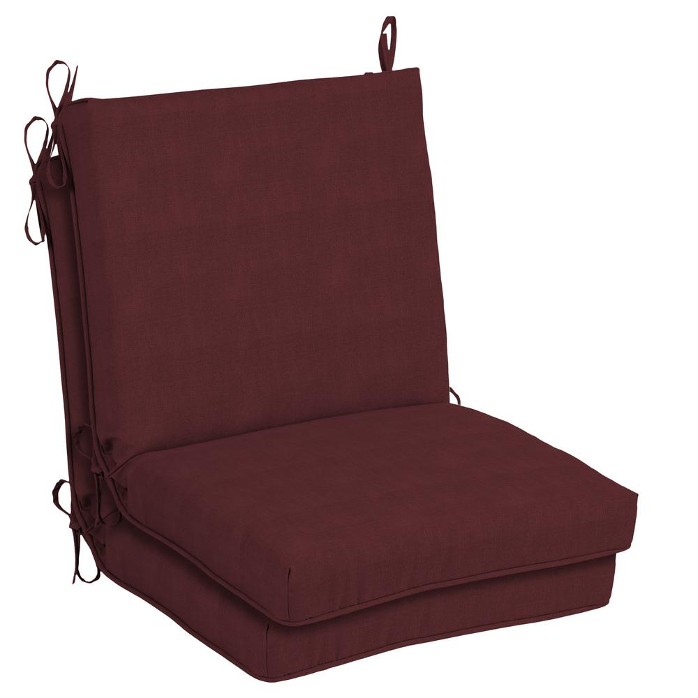 CushionGuard Aubergine Outdoor Dining Chair Cushion (2 Pack)