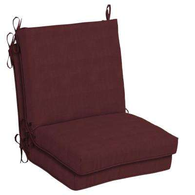 CushionGuard Aubergine Outdoor Dining Chair Cushion (2-Pack)