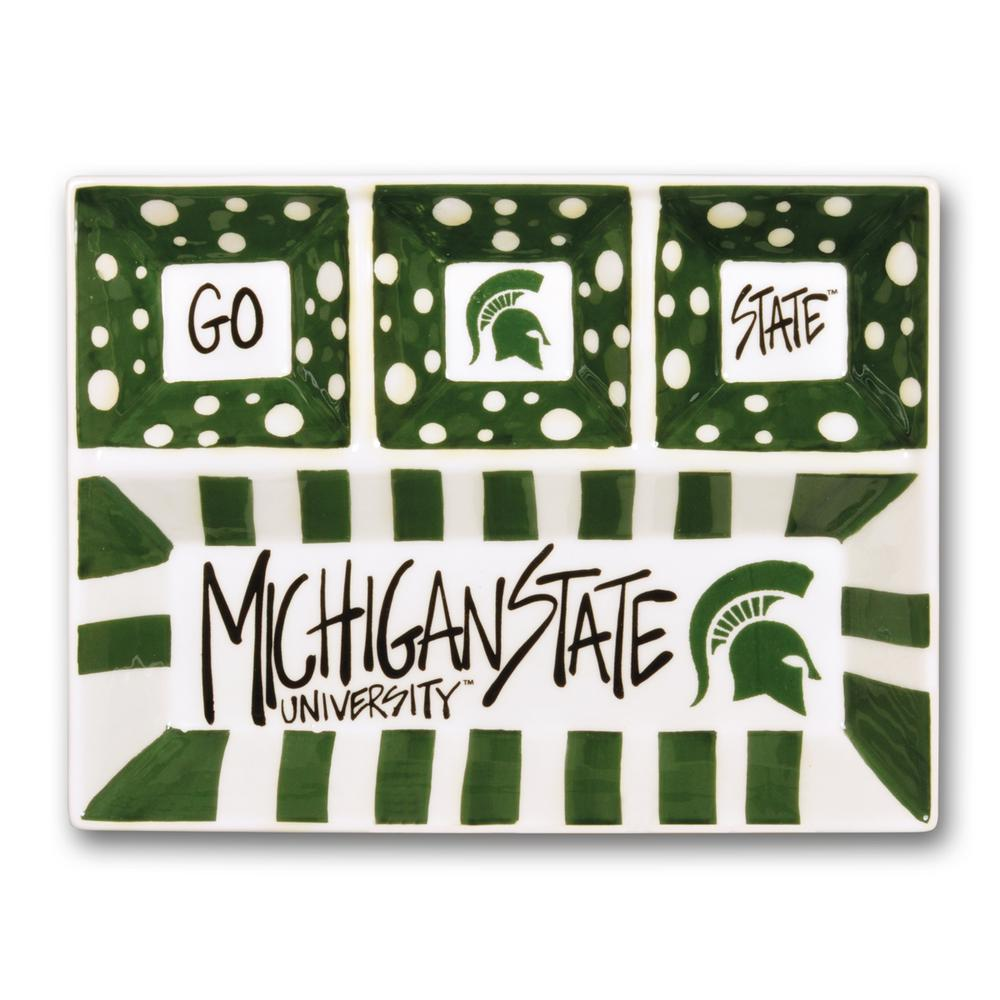 Michigan State Ceramic 4 Section Tailgating Serving Platter
