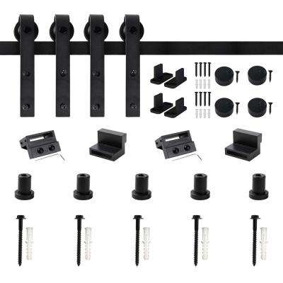 79 in. Frosted Black Sliding Barn Door Hardware Track Kit for Double Doors with Non-Routed Floor Guide
