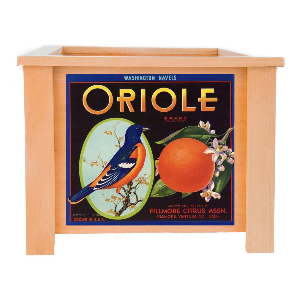19 in. x 19 in. Deluxe Cedar Planter Box with Oriole Art