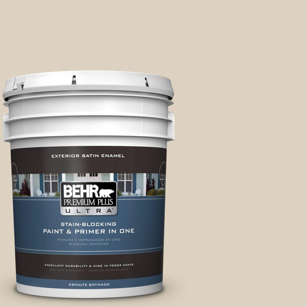 BEHR Premium Plus Ultra 5-gal. #OR-W7 Spanish Sand Satin Enamel Exterior Paint