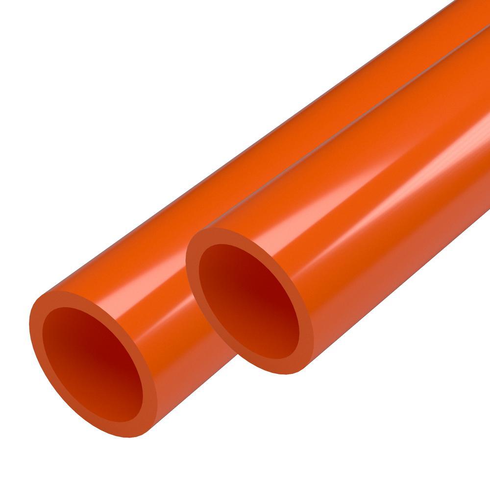 1-1/4 in. x 5 ft. Orange Furniture Grade Schedule 40 PVC Pipe (2-Pack)