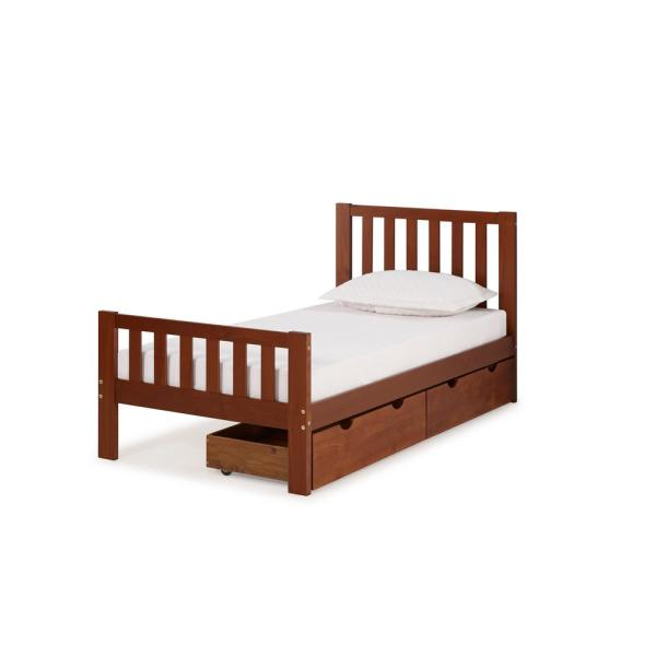 Alaterre Furniture Aurora Chestnut Twin Bed with Storage Drawers AJAU1070S
