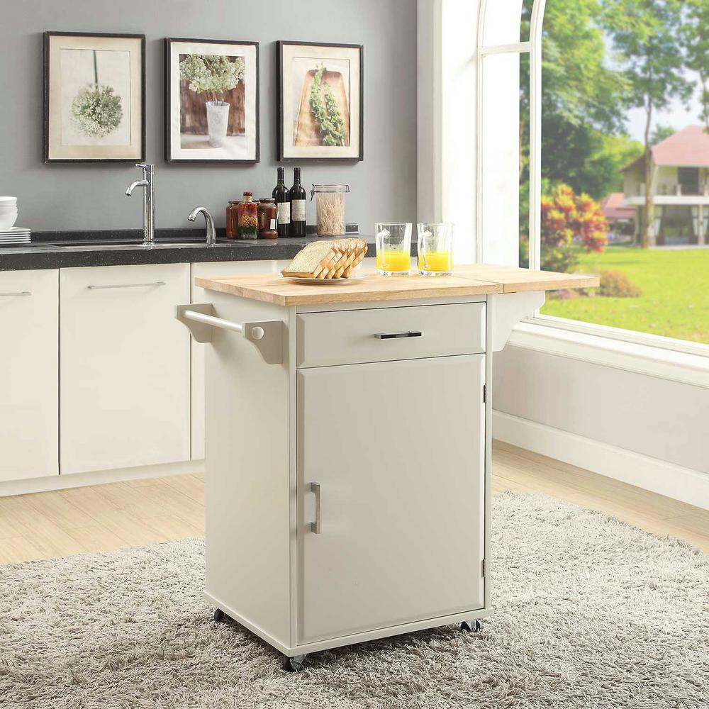 Townville Polar White Small Kitchen Cart With Drop Leaf Sk19251b Pw