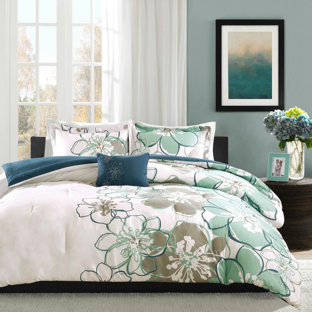 Skylar 4-Piece Blue/Grey Full/Queen Comforter Set