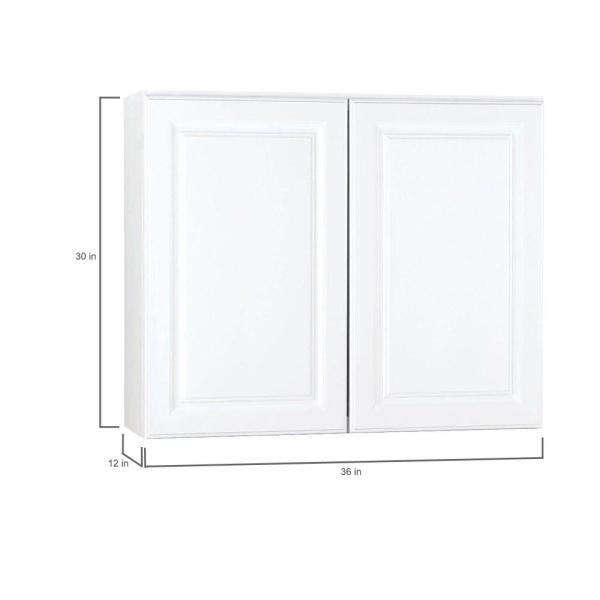 Hampton Bay Hampton Assembled 36x30x12 In Wall Kitchen Cabinet In Satin White Kw3630 Sw The Home Depot