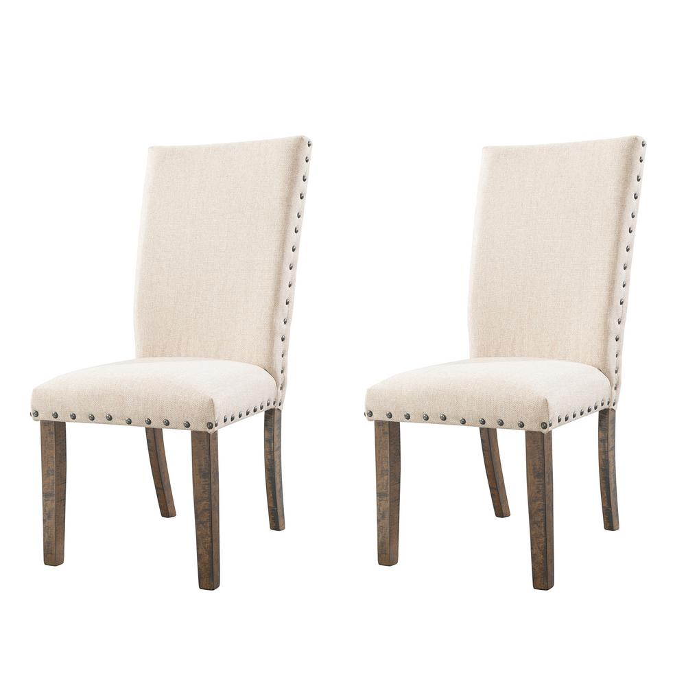 Dex smookey walnut upholstered side chair set