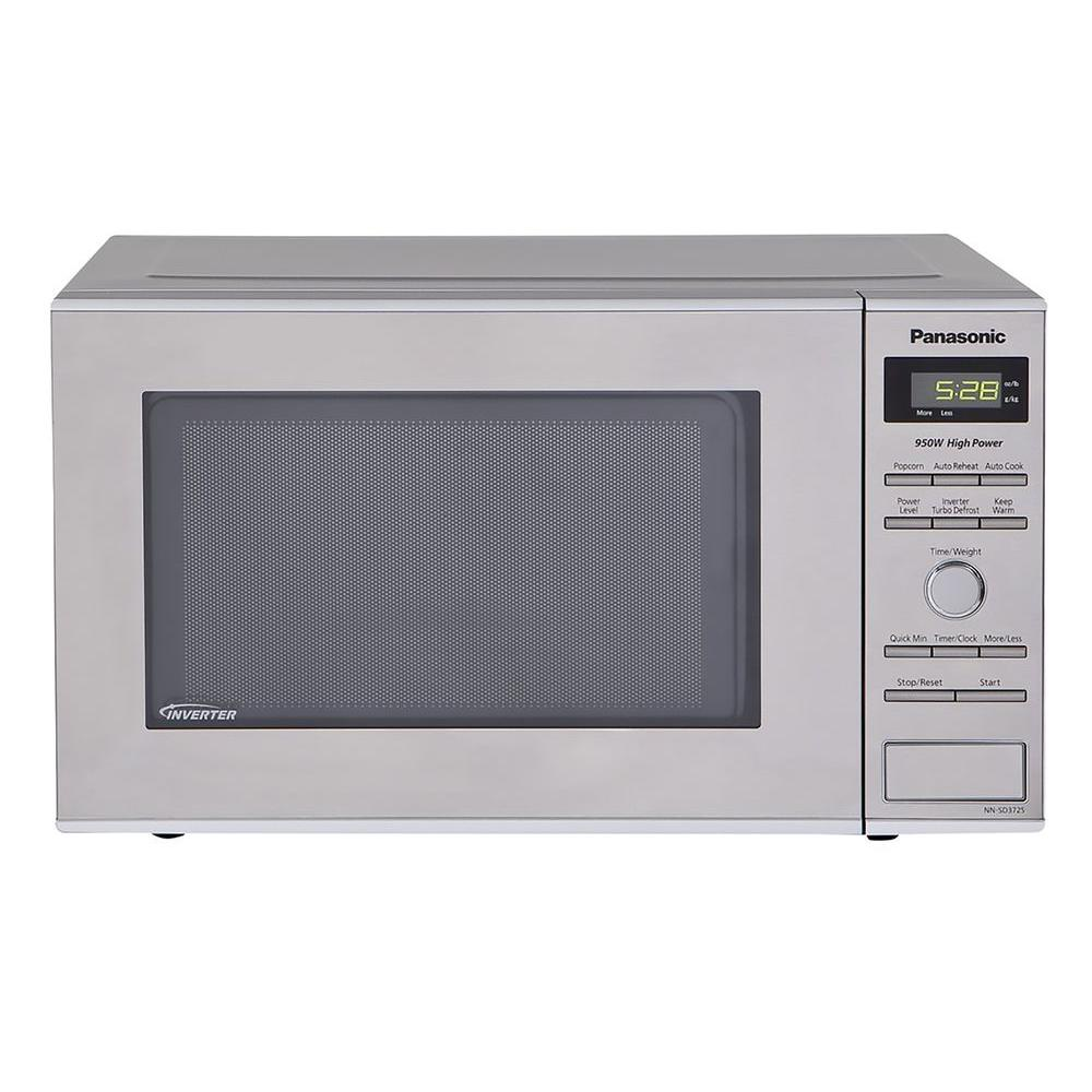 Panasonic Compact 0.8 cu. ft. Countertop Microwave 950 Watt in Stainless Steel Front and Silver Body-DISCONTINUED