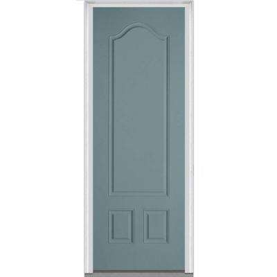 36 in. x 96 in. Right-Hand Inswing 3-Panel Archtop Classic Painted Fiberglass Smooth Prehung Front Door