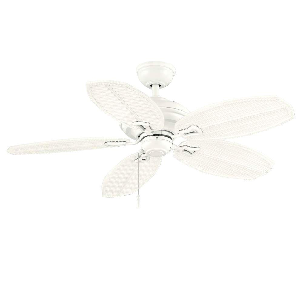 Hampton Bay Palm Beach II 48 in. White Outdoor Ceiling Fan