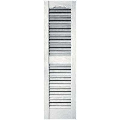 12 in. x 43 in. Louvered Vinyl Exterior Shutters Pair in #117 Bright White