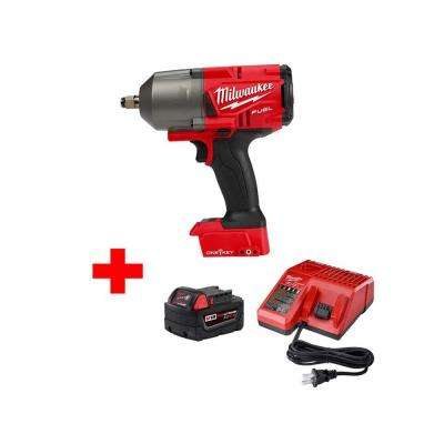 M18 FUEL ONE-KEY 18-Volt Lithium-Ion Brushless Cordless 1/2 in. Impact Wrench with Free M18 5.0Ah Battery and Charger