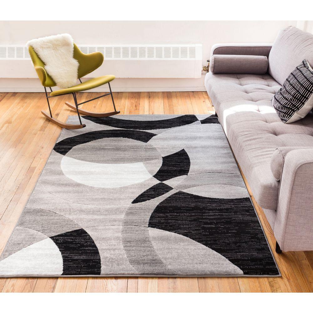 Dulcet Bingo Grey 3 ft. x 5 ft. Geometric Area Rug