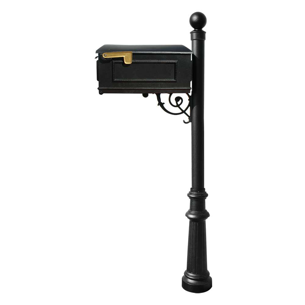 QualArc Lewiston Mailbox Collection with Post, Decorative Fluted Base and Ball Finial in Black