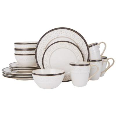 Promenade Scroll 16-Piece Casual Brown and Cream Stoneware Dinnerware Set (Set for 4)
