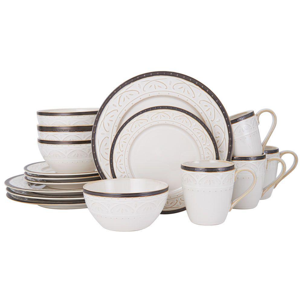 Pfaltzgraff 16-Piece Promenade Scroll Dinnerware Set