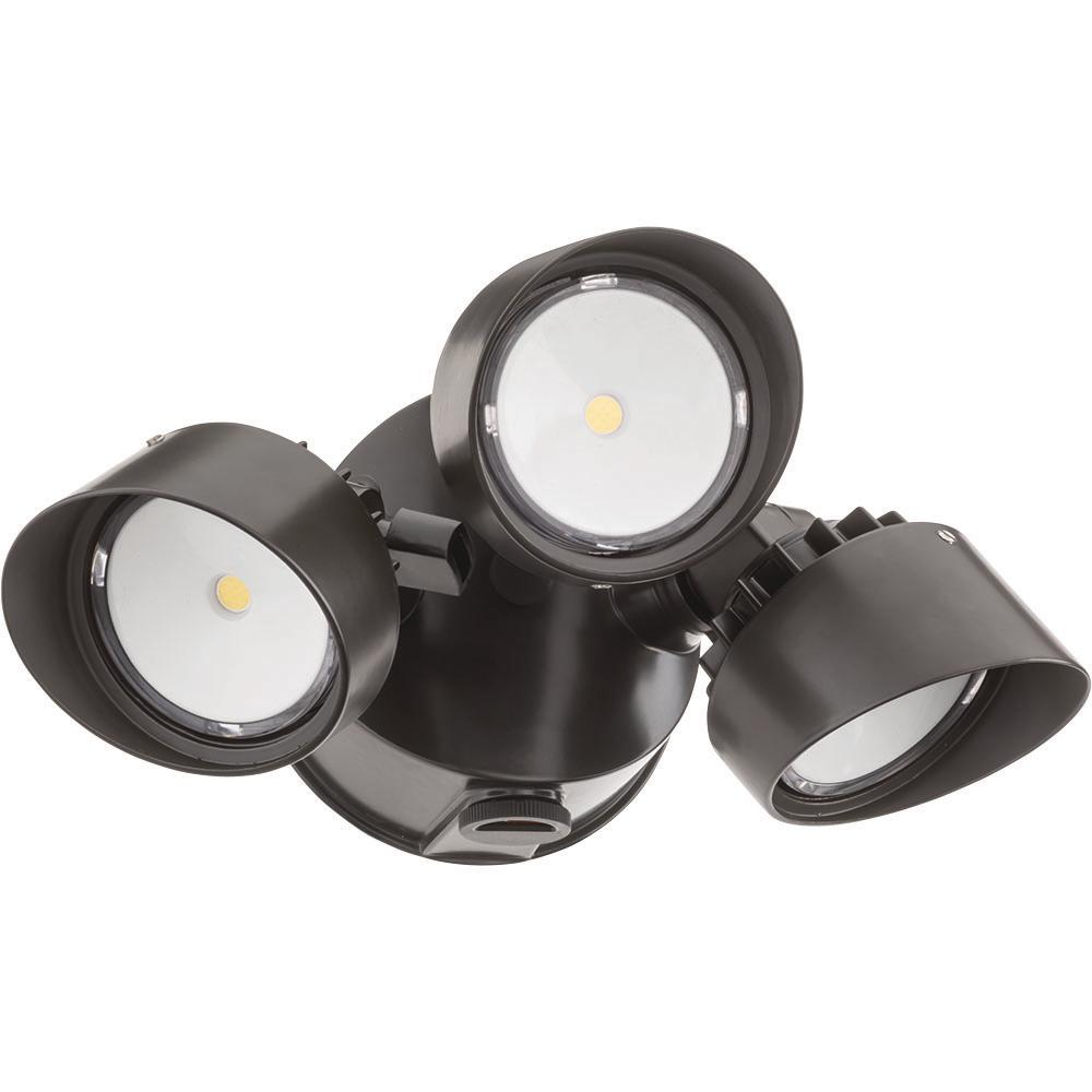 Lithonia Lighting Olf 3rh Bronze Outdoor Integrated Led Round Wall Mount Flood Light With Dusk To Dawn Photocell
