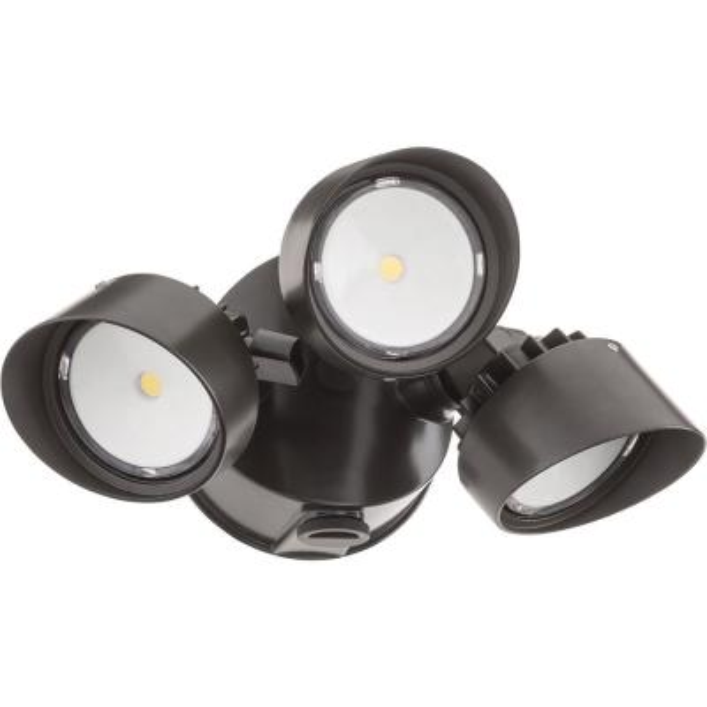Contractor Select OLF Series 36-Watt Dark Bronze Dusk to Dawn Integrated LED Outdoor 3-Head Flood Light