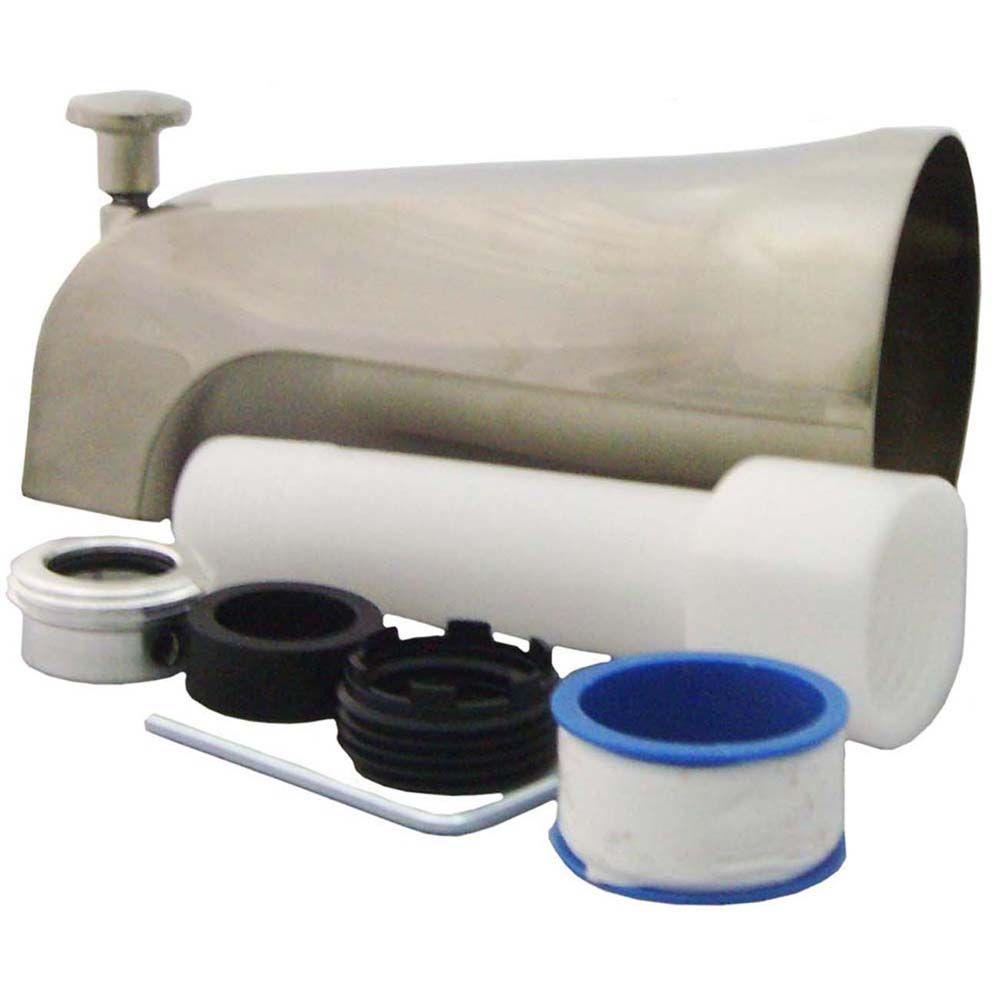 PartsmasterPro Universal Tub Spout with Diverter in Brushed Nickel ...