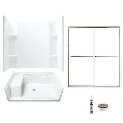 Accord 36 in. x 60 in. x 74.75 in. Center Drain and Backers Alcove Shower Kit in White and Brushed Nickel