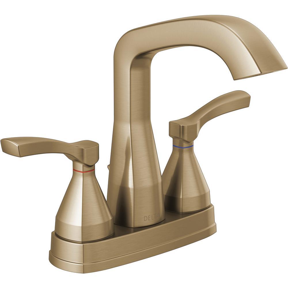 Delta Stryke 4 in. Centerset 2-Handle Bathroom Faucet in Champagne Bronze