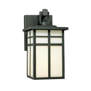 Mission 1-Light Black Outdoor Wall-Mount Lantern Sconce