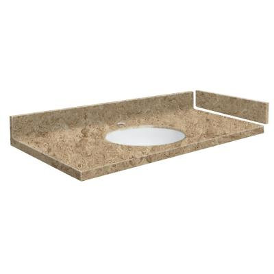 61 in. W x 22.25 in. D Solid Surface Vanity Top in Sand Mountain with White Basin and Single Hole