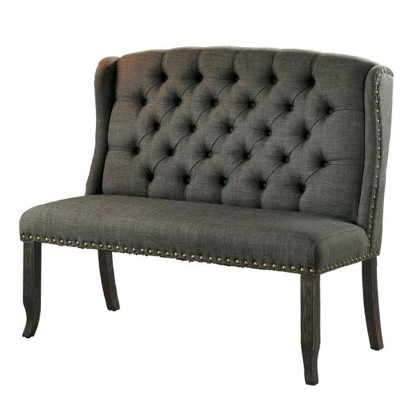 Anthus Gray Nailhead Button Tufted High Back Bench