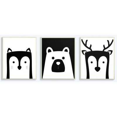 "10 in. x 15 in. ""Be Wild Black And White Animals"" by Jessica Mundo Printed Wood Wall Art (3-Piece)"