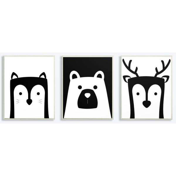 10 In X 15 In Be Wild Black And White Animals By Jessica Mundo Printed Wood Wall Art 3 Piece