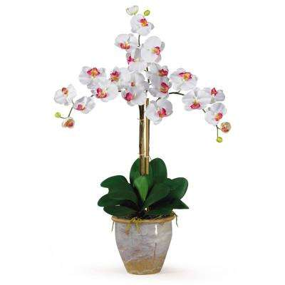 27 in. Triple Phalaenopsis Silk Orchid Flower Arrangement in White