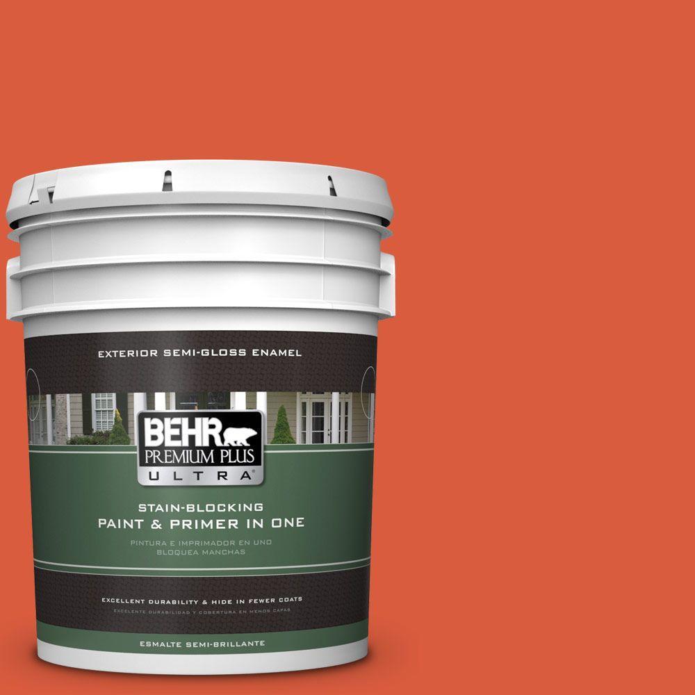 BEHR Premium Plus Ultra 5-gal. #200B-7 Fireglow Semi-Gloss Enamel Exterior Paint